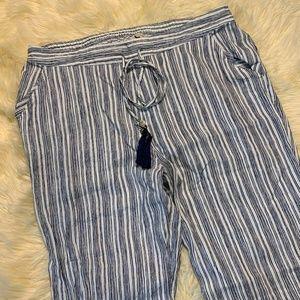 Soft Surroundings Navy & White Stripe Linen Pants